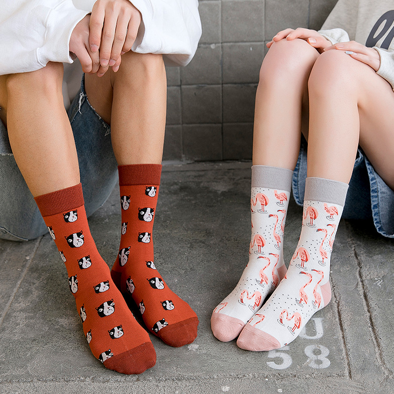 Hip Hop Happy Sock Combed Cotton Personality Fashion Tide Sock Couples Funny Socks Cartoon Flamingos Fish Parrot Cute Socks
