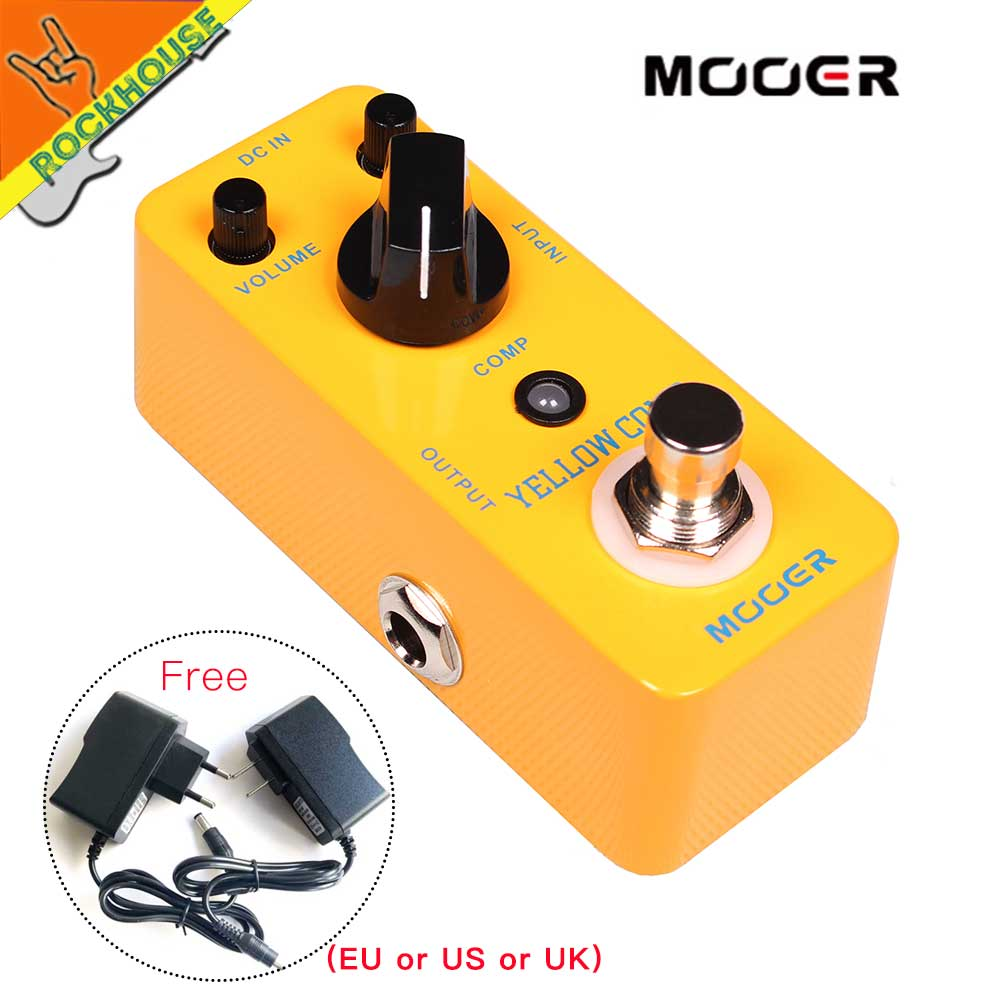 MOOER Yellow Comp Guitar Compressor Pedal Mini Compressor Guitarra Effects Pedal Full Metal Shell True Bypass Free Shipping ams 3 mod station modulation ensemble guitar effect pedal aroma mini digita pedals effects with true bypass full metal shell