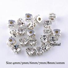 SS12-SS40 Kristal Glas Stenen Zilveren Claw Cup Steentjes Strass Stenen En Kristallen Naaien Steentjes Voor Kleding Diy Stof