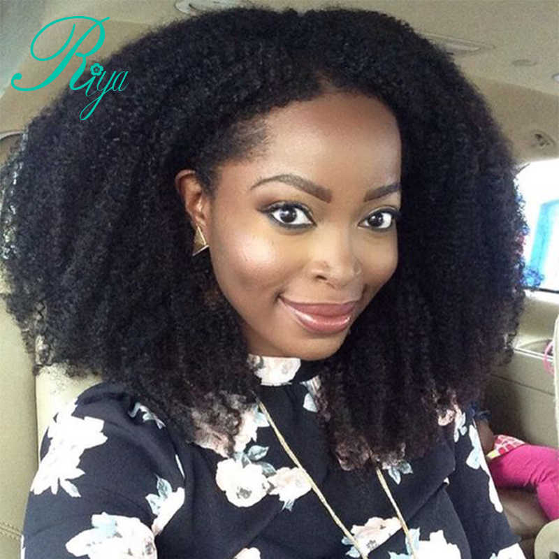 Riya 250% Density 13x6 Afro Kinky Curly Lace Front Human Hair Wigs Natural Black Brazilian Remy Hair Wig With Baby Hair