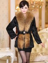 Long sleeve rabbit fur coat big raccoon get a long,