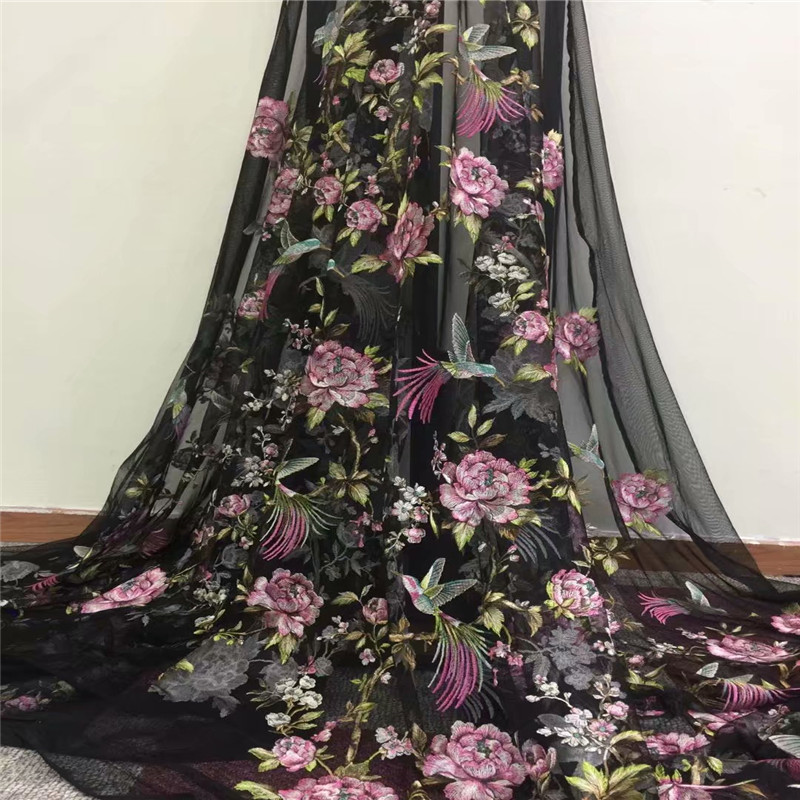 Inventive 2018 Popular Style Embroidered 3d Flower African Lace Fabric With Beads Good Quality Dress French Lace Fabric Hx902-1 Without Return Apparel Sewing & Fabric