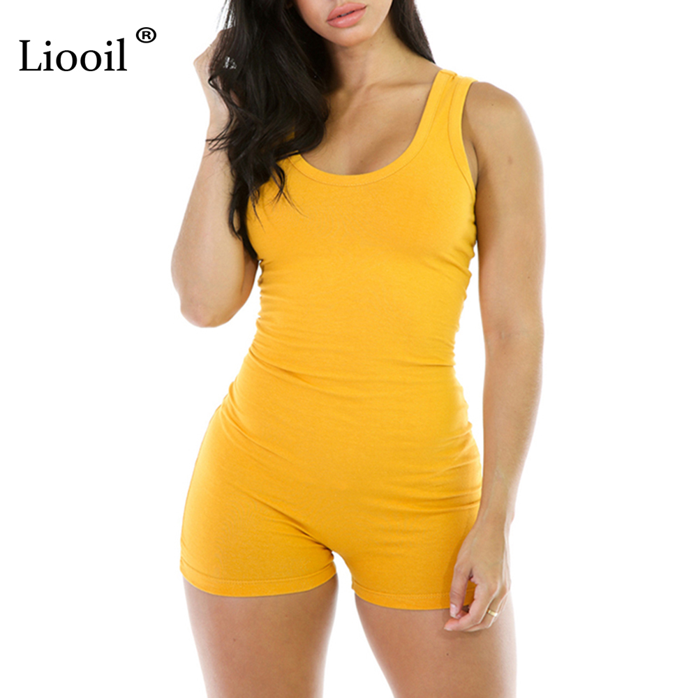 Liooil 2020 New Summer Women Black White Playsuit Elegant Sleeveless Short Rompers Sexy Club Bodycon Playsuits and jumpsuits