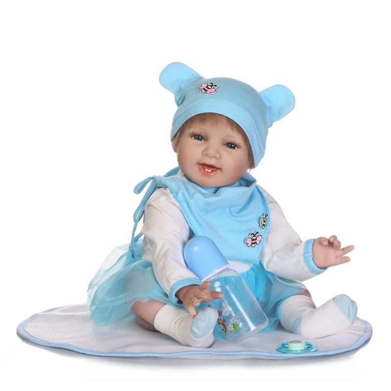 55 cm reborn bébés silicone souple reborn bébé poupées jumeaux bleu costume vif reborn bébé poupée jouets éducatifs cadeau d'anniversaire