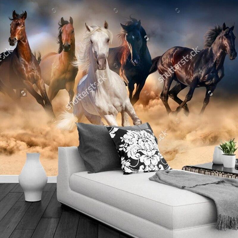 Papier peint naturel personnalisé paysage, cheval troupeau courir rapidement, 3D photo murale pour salon chambre restaurant fond papier peint mural