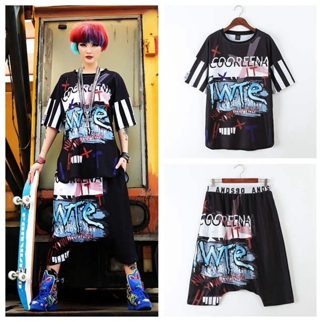 2018 Boo Ace Hip Hop Fashion Desiger Set 3D Printed Summer Womens 2 Piece Suit