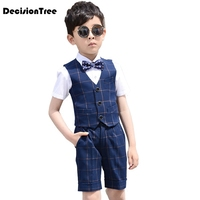 2019 new big boys wedding overall suits with bowtie school boys uniform bib pants suit flower boys clothing set