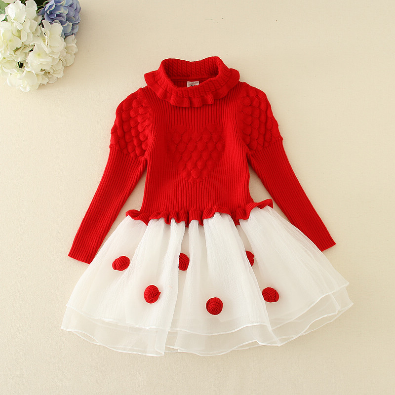 Autumn 2017 Thick Girl Dresses Princess Knitted Winter Party Kids Sweater TuTu Dress Girl Long Sleeve Clothes Children Clothing baby girls knitted sweater clothing dress 2017 autumn winter new long sleeve cute cartoon pattern girl dress children clothes