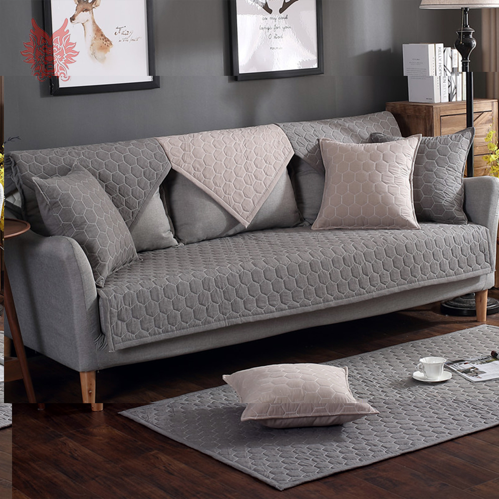 Modern Dark Grey Khaki Plaid Quilted Cotton Sofa Cover For