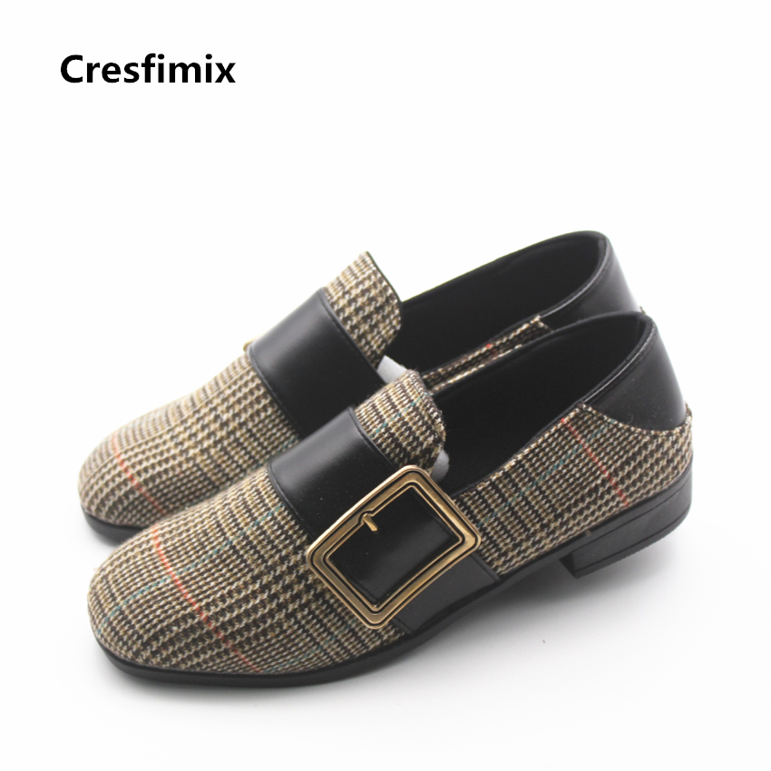 Cresfimix women fashion high quality plaid flat shoes lady cute spring & summer slip on shoes zapatos de mujer cute & cool shoes cresfimix zapatos de mujer women fashion pu leather slip on flat shoes female soft and comfortable black loafers lady shoes