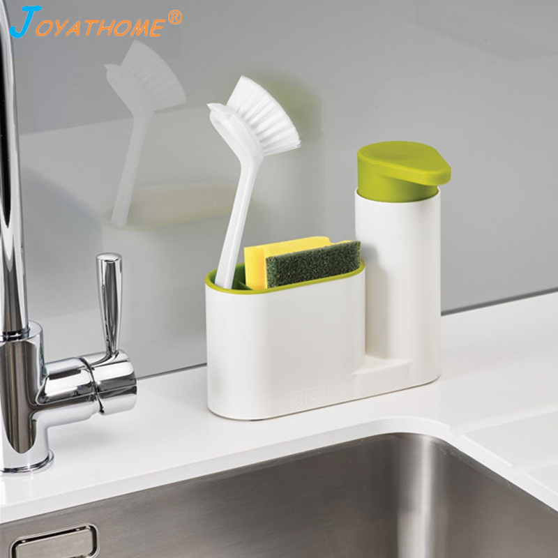 Joyathome Kitchen Storage Rack For Cleaning Sponges Brushes Soap Dispenser Bottle Save Space Kitchen Sink Organizer