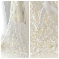 130cm Wide Chinese Brocade Style Birds And Flowers Embroidery White Lace High Quality Wedding Dress DIY Cotton Silk Fabric Cloth