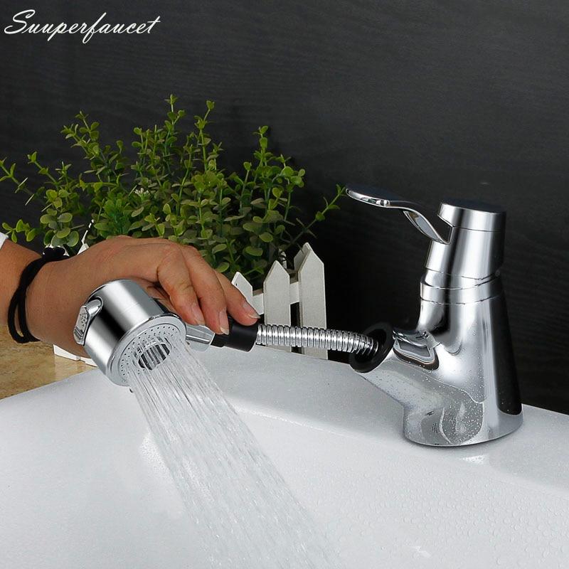 Superfaucet Brass Basin Faucet,Bathroom Pull Out Faucet,Wash Basin Faucet Mixer,Bath Vessel Sink Mixer Tap Washing Hair HG-4848 стоимость