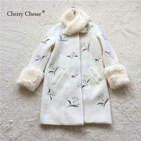 Cherry Chesse 2018 Real Fur floral print coat Woolen Slim outwear blend Wool Coat Women Woolen