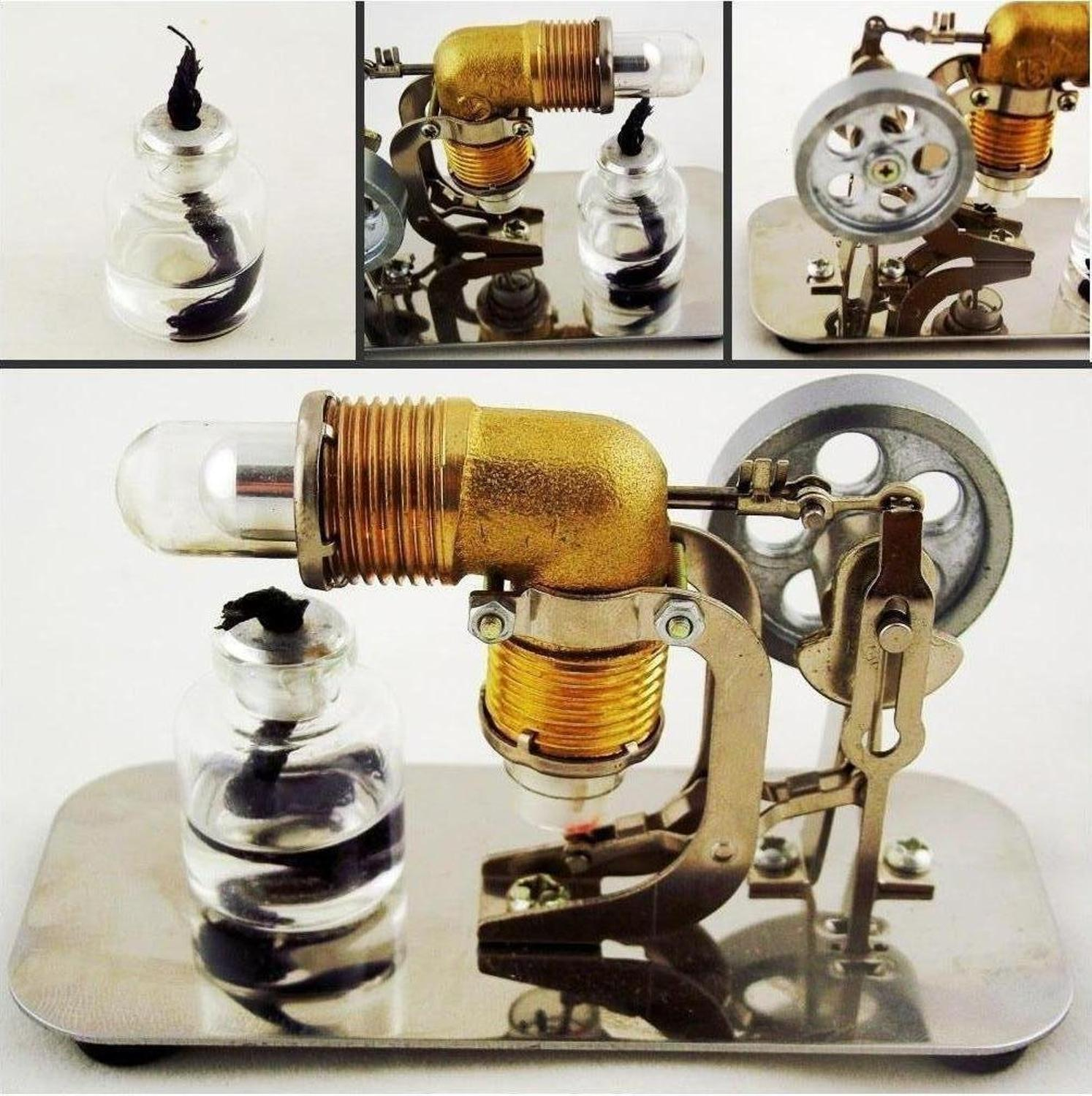 Mini Hot Air Stirling Engine Motor Model Educational Toy Kits Electricity HA001 qx fd 03 stirling engine model mini