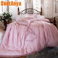 Svetanya кружева постельное белье Emboridery мягкий Постельное белье queen полный Король Размеры простыня наволочка пододеяльник Комплекты розовый ц
