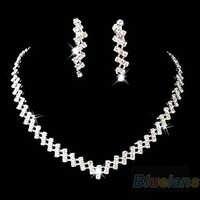 Nuevo arrivalsuntuosa para fiesta de boda y graduaciones joyería diamante cristalino collar pendiente conjunto moda joyería 7FWO 9SHA