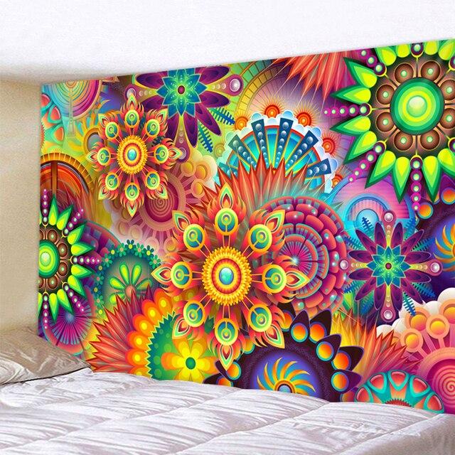 Цветные геометрические лепестки индийский гобелен в богемном стиле настенный гобелен с мандалой песчаный пляж покрывало для пикника полот...
