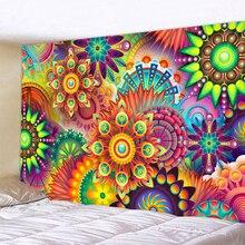 Colored Geometric Petals Indian Tapestry Bohemian Mandala Wall Hanging Sandy Beach Picnic Throw Towel Rug Blanket Mattress