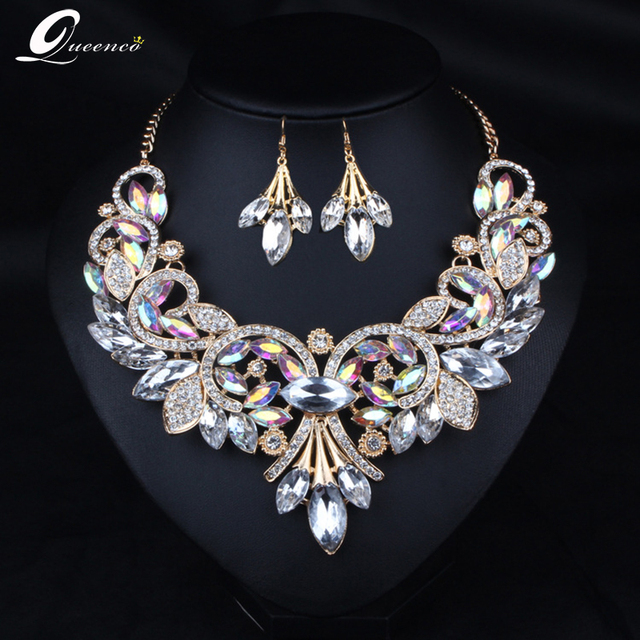 c592b906eff21 US $13.82 50% OFF|2019 Indian Rhinestone Bridal Jewelry Set Wedding Prom  Party Accessories Gold Color Necklace Black Earring Set for Brides Women-in  ...
