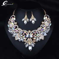 2019 Indian Rhinestone Bridal Jewelry Set Wedding Prom Party Accessories Gold Color Necklace Black Earring Set for Brides Women
