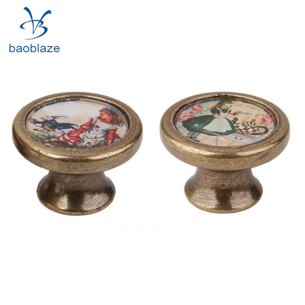 2 Pieces Vintage Retro Cabinet Door Cupboard Bin Handle Pulls Knob Furniture Hardware -Girls and Rabbit2 Pieces Vintage Retro Cabinet Door Cupboard Bin Handle Pulls Knob Furniture Hardware -Girls and Rabbit