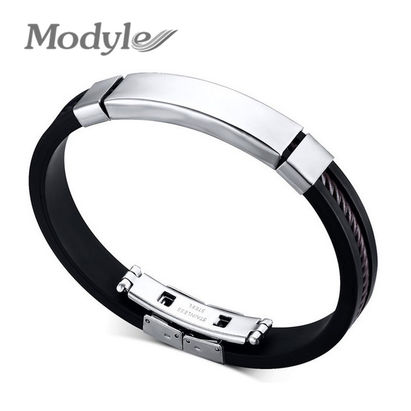 Fashion Men Bracelets Black Silicone Rubber Jewelry Stainless Steel Bangles Whole In Charm From