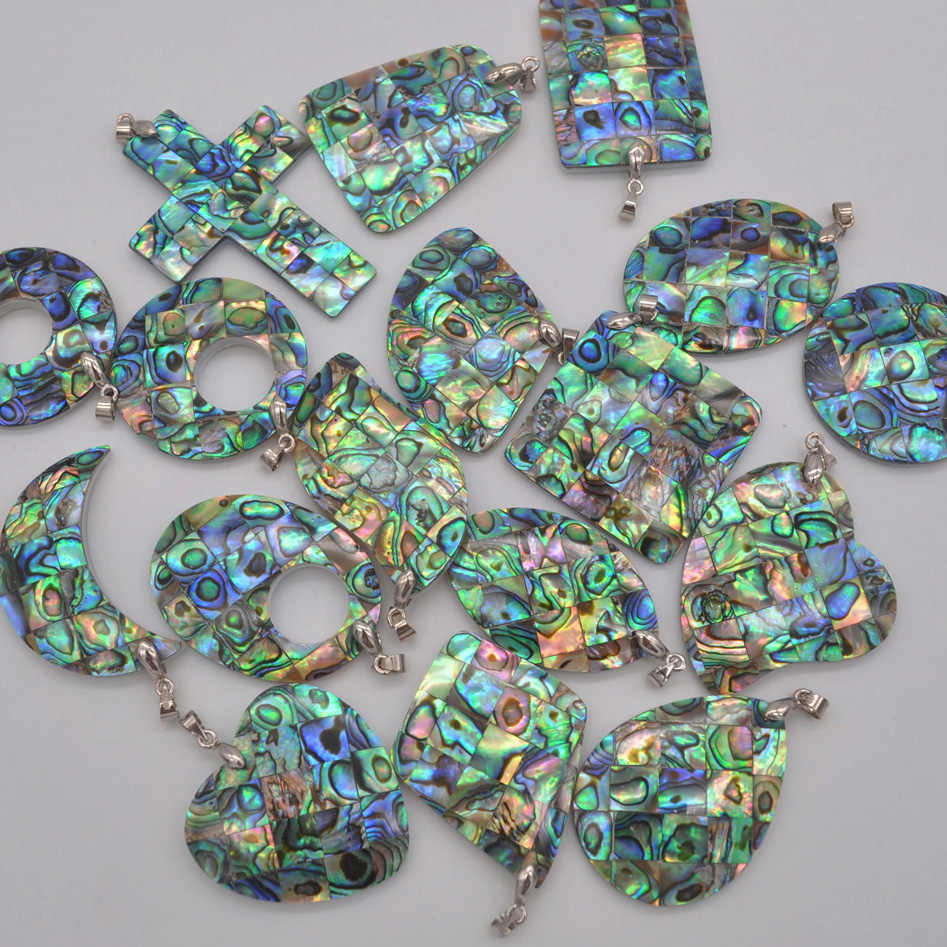 Natural New Zealand Abalone Shell Bead จี้อัญมณีแฟชั่นเครื่องประดับ S050-S066