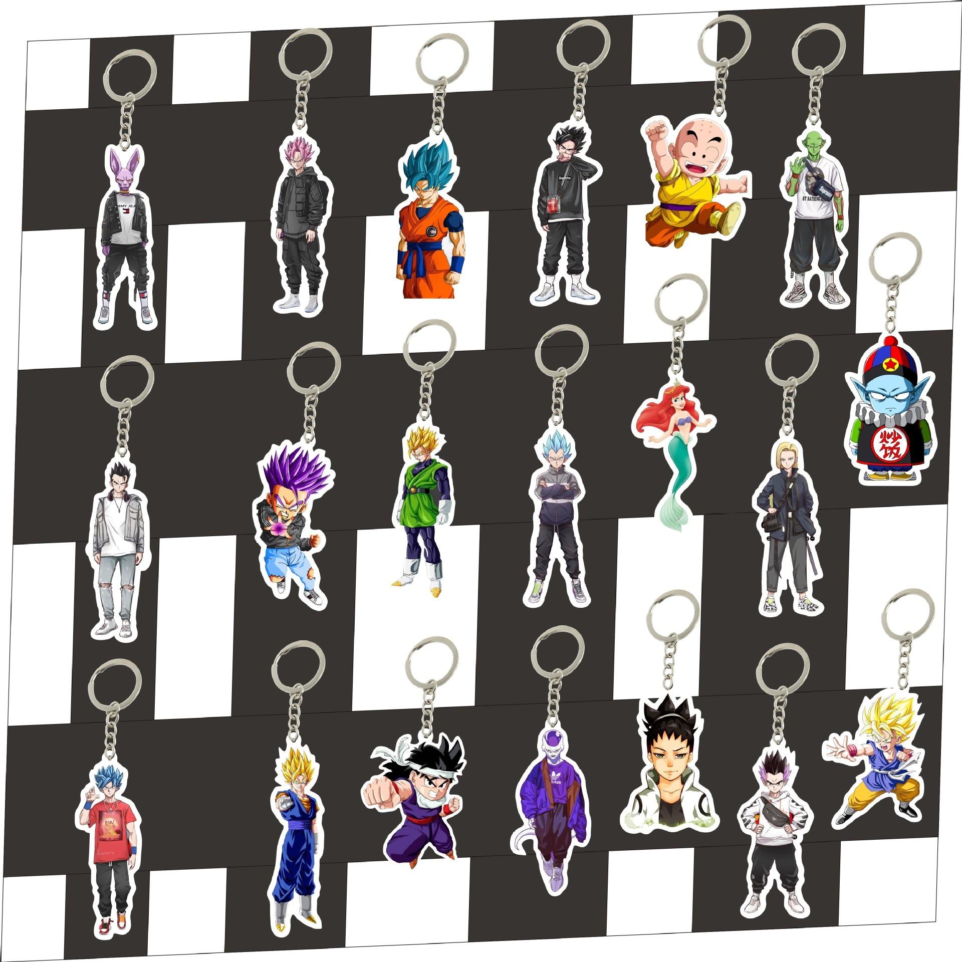Acrylic Keychain Dragon Ball Sun Wukong Accessories Anime Cartoon Circle Gift Cute Pendant