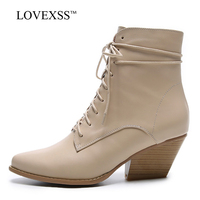 LOVEXSS Woman Genuine Leather Ankle Boots Autumn Winter Bottine High Heeled Shoes Fashion Plus Size 33