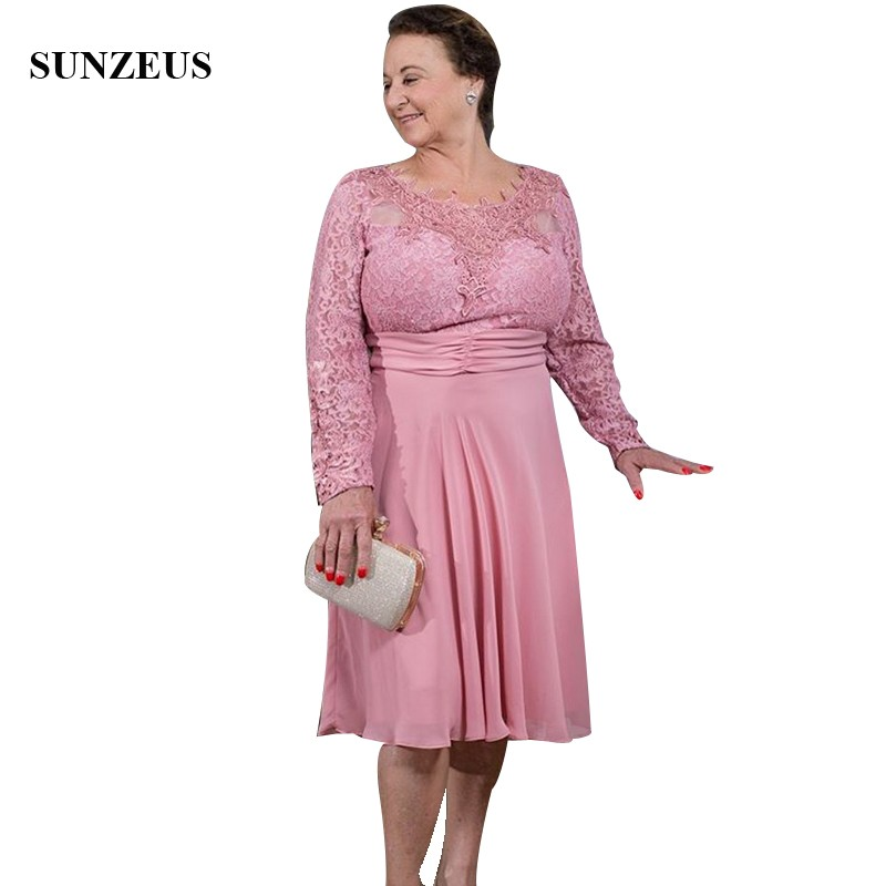 Lace Long Sleeve Pink Mother Of The Bride Dresses Knee