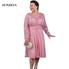 Lace Long Sleeve Pink Mother Of The Bride Dresses Knee Length Chiffon Groom Mothers Gown A-line Grandmother Party Wear CM0199