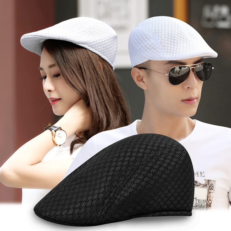Hat Beret-Cap Peaked Golf-Cabbie Flat Newsboy Breathable Women Summer Unisex Casquette