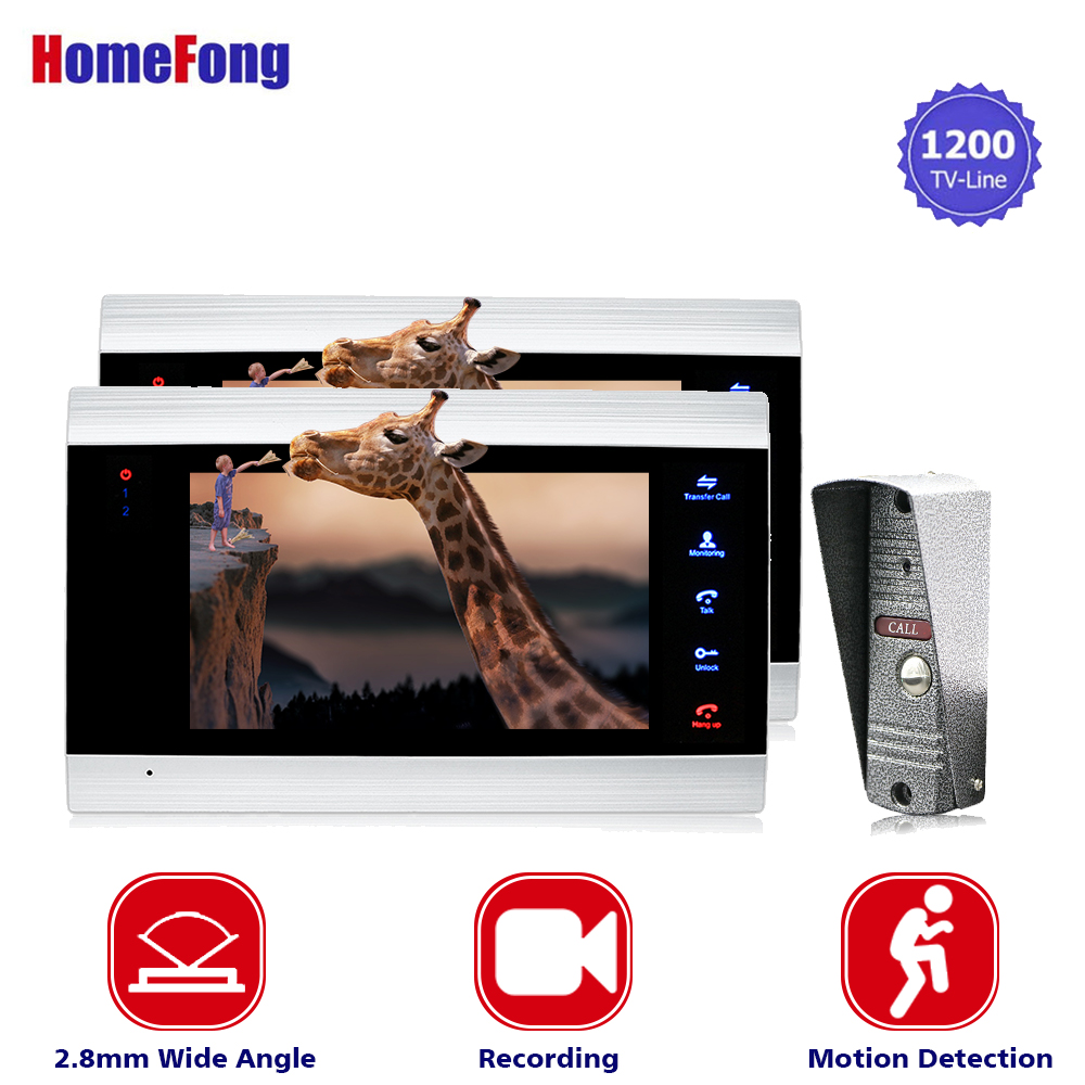 Homefong 7 inch Video Door phone Intercom System With Night Vision Outdoor 1200TVL Wide Angle Camera