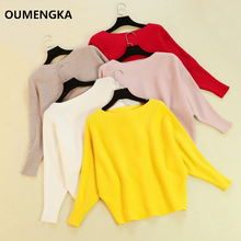 OUMENGKA Sweater Women Slash Neck Knitted Winter Sweaters Tops Female Brief Batwing Casual Pullovers Jumper Pull Femme 6 Colour