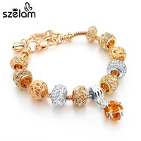 Szelam Luxury Crystal Heart Charm Bracelets & Bangles Gold Bracelets For Women Jewellery Pulseira Feminina Sbr160056 2
