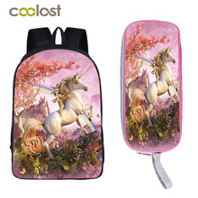 Unicorn Bag Children School Bags Dab Panda Backpacks for Teenage Girls Boys Book Bag Cartoon Mochila + Pencil Holder Kids Gift(China)