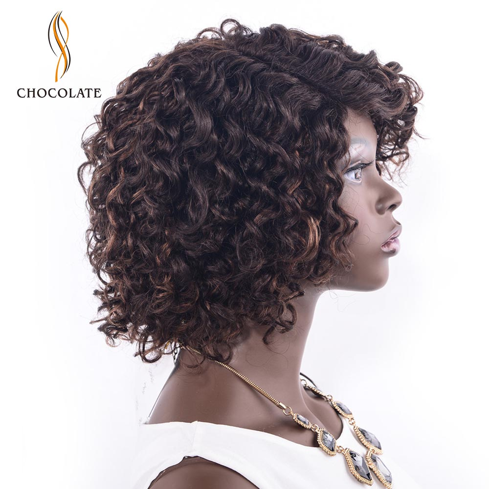 CHOCOLATE Afro Kinky Wave Human Hair Wigs For Black Women Remy Human Hair Brazilian Afro Kinky Curl Wigs Black Color