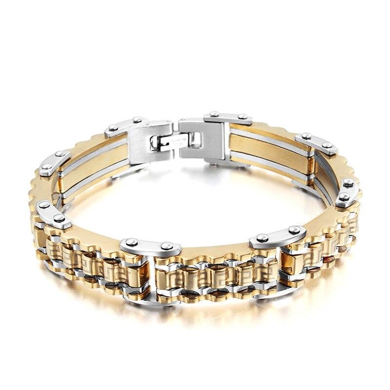 Человека прилив велосипеды цепочки, браслет из нержавеющей стали классические золотое покрытие браслеты для мужчин ювелирные изделия опто...