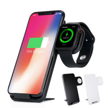Qi Wireless Fast Charger Mobile Holder For Apple Watch 3 2 1 For Iphone XS MAX XR X 8 Plus Samsung S10 9 8 7 Phone Charging Dock espanson wireless charger pad 2 in 1 for apple watch iwatch 2 3 7 5w fast charging for iphone x 8 8 plus mobile phone chargers