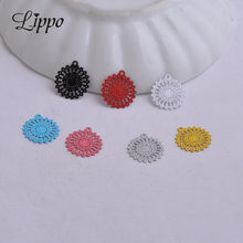 100pcs AC2572 Colorful Filigree Round Charm Sun Shape Pendant DIY filigrane pour fabrication bijoux 11mm*13mm(China)