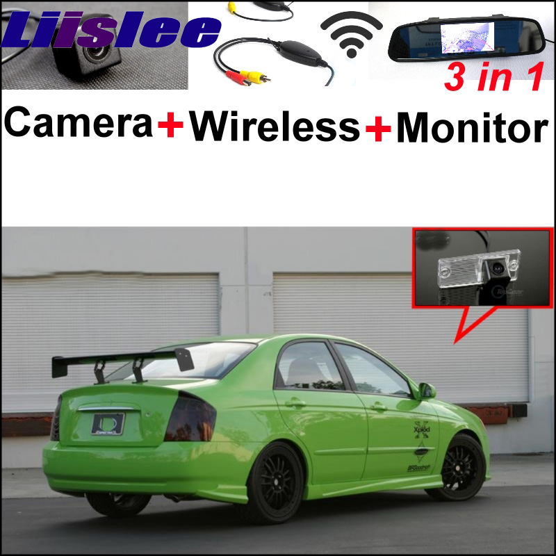 3 in1 Special Camera + Wireless Receiver + Mirror Monitor Easy Backup Parking System For KIA Spectra Spectra5 Sedan 2003~2009