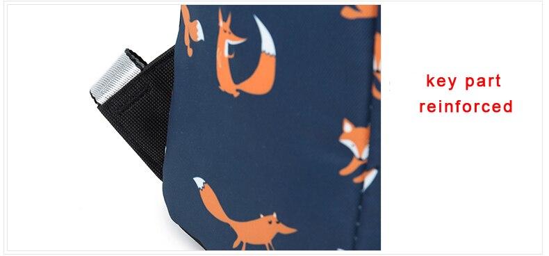 WINNER Cute Animal Fox Printing School Backpacks Waterproof Women Bag Laptop Backpack Female Mochila Bolsas E Sacolas (32)