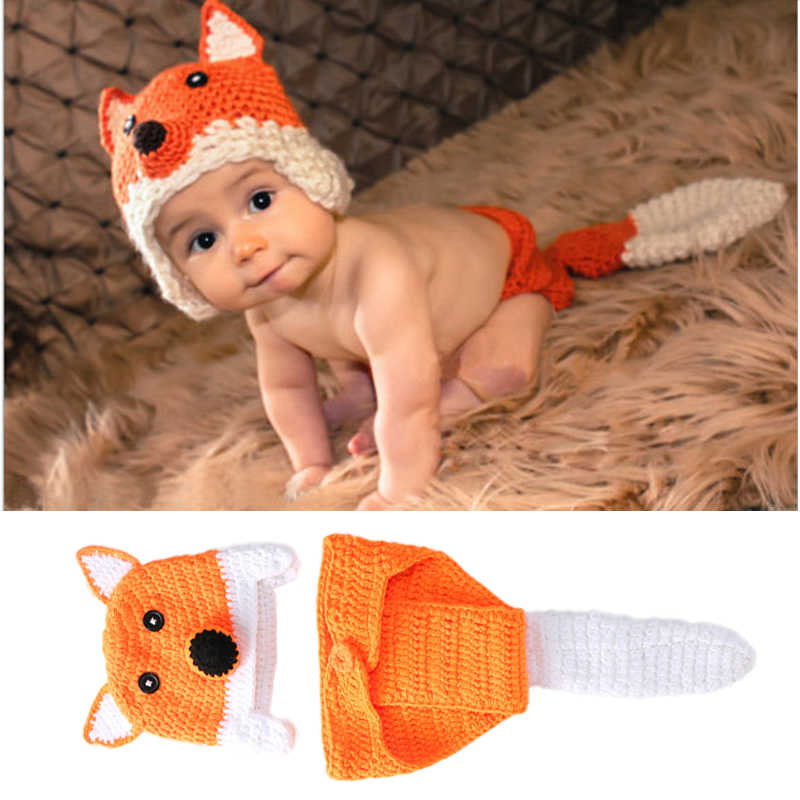 Newborn Photography Props Baby Fox Clothes Caps With Tails Infant Pictures Costumes Crochet Outfits Animal Photo Accessories
