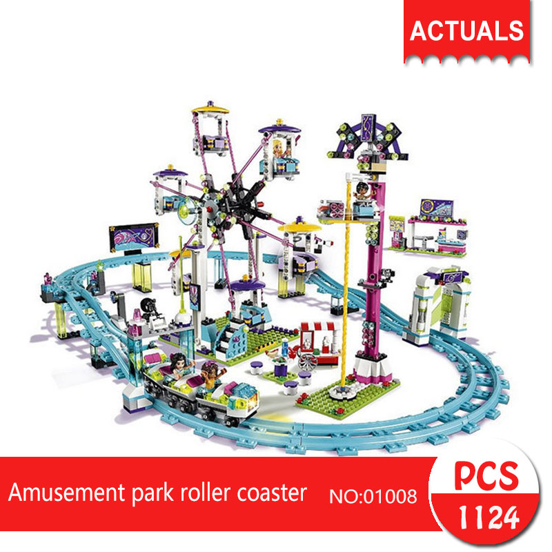 Lepin 01008 1124Pcs Friends series  Amusement park roller coaster  Building Blocks   Bricks Toys For Children  Gift loz friends motor building blocks roller coaster diy model rotary swing toys battery bricks amusement park blocks technic 2027