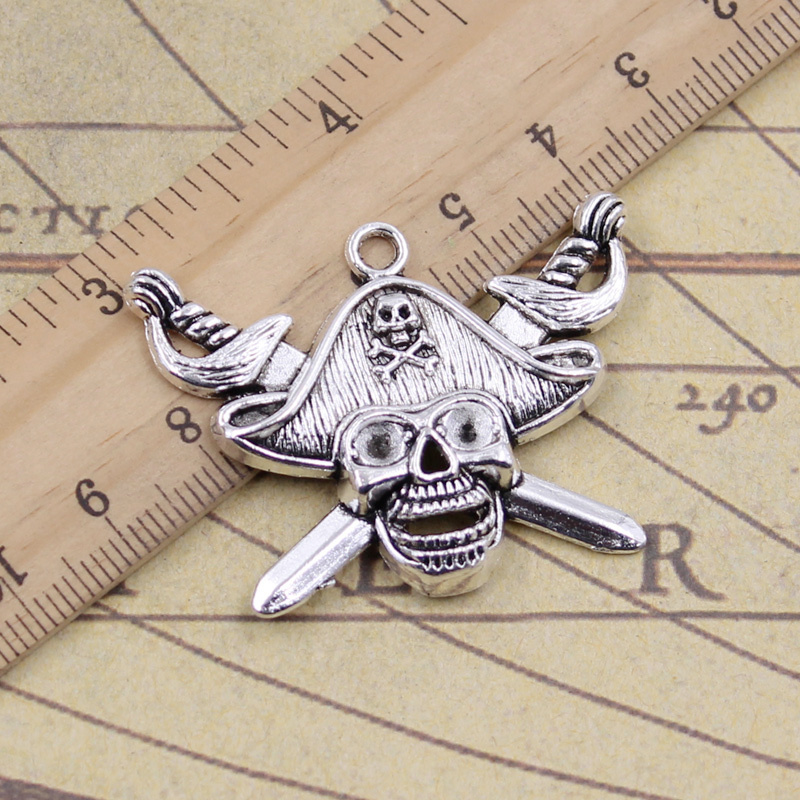 Charms Purposeful 2pcs/lot Charms Skull Pirate Flag Cross Swords 45x34mm Tibetan Silver Pendants Antique Jewelry Making Diy For Bracelet Necklace