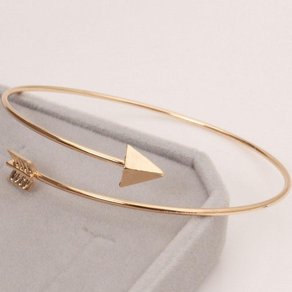 Fashion Simple Design Women Metal Punk Cuff Arrow Alloy Bangle Bracelet Jewelry Ladies Girls Leisure Gold/Silver Plate Bracelet mariposa en plata anillo