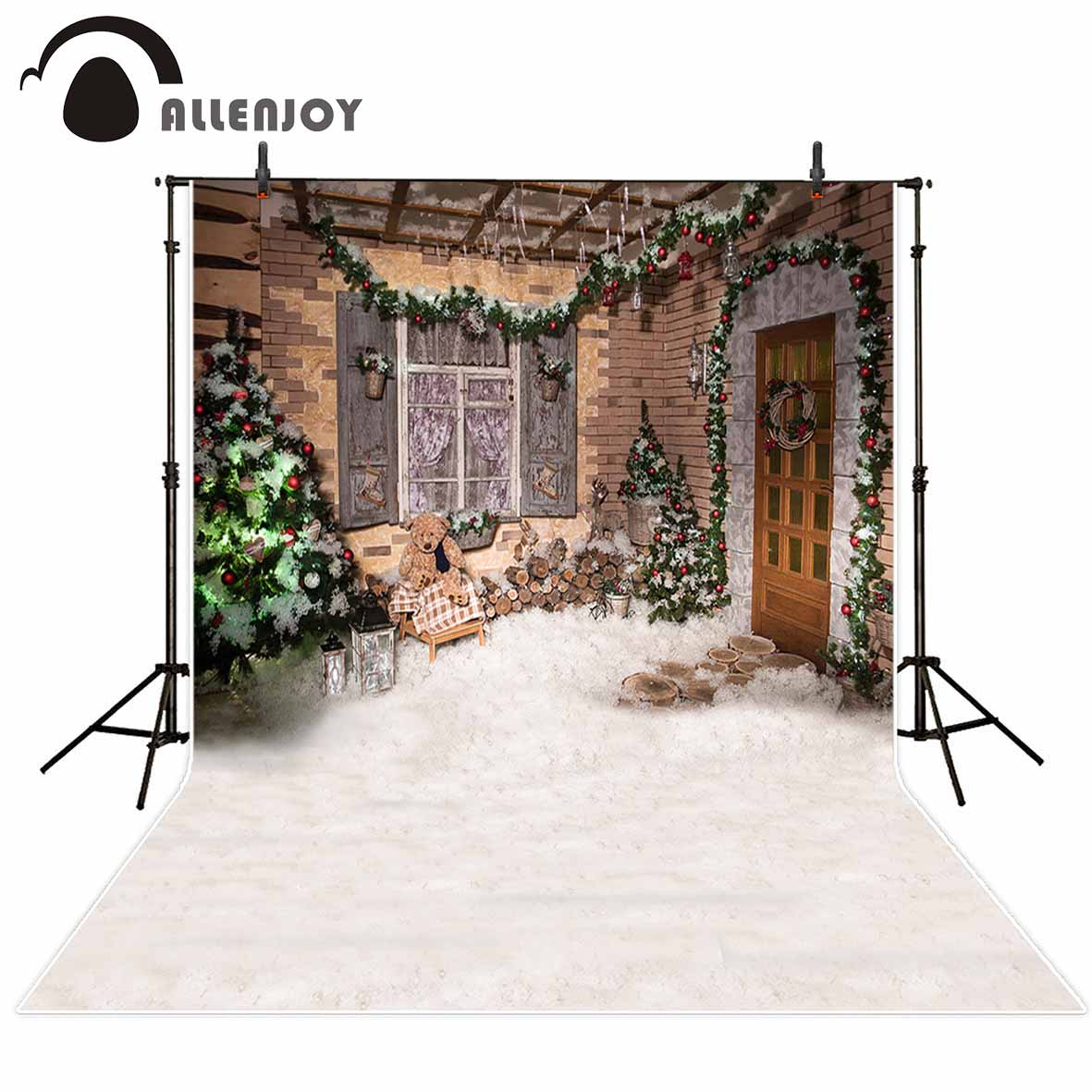 Allenjoy photography backdrop Snow winter house Christmas tree party children new background photocall customize photo printed christmas backdrop photography allenjoy snow cap winter snowflakes background photographic studio vinyl children s camera photo