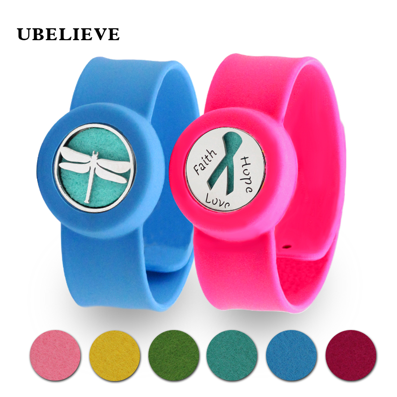 Bracelets & Bangles Active 25mm Stainless Steel Locket With Silicone Bracelet Kid Mosquito Repellent Bangle Aromatherapy Perfume Diffuser Locket 10pcs Pads