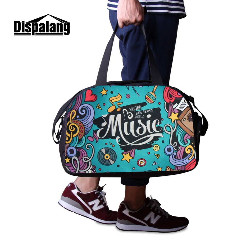 da8ff5f803 2018 Geometric 3D Printing sporty duffle bags for girls canvas luggage  travel bag shoulder workout bags pink weekend tote bag-in Travel Bags from  Luggage ...